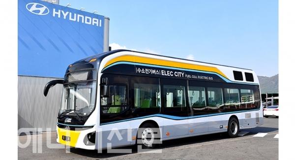 ▲ 현대자동차에서 공급하는 수소전기버스.